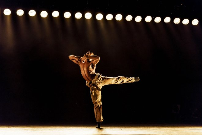Jose Alves of Ballet Black performing in Mthuthuzeli November's 'Ingoma'